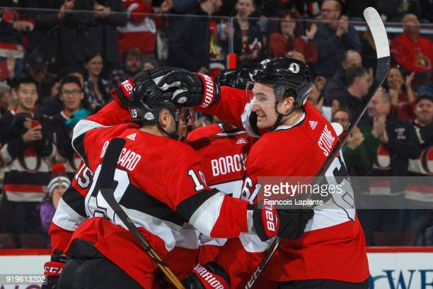 Mark Stone of the Ottawa Senators celebrates his first period goal with teammate Derick Brassard in a game against the New York Rangers at Canadian...