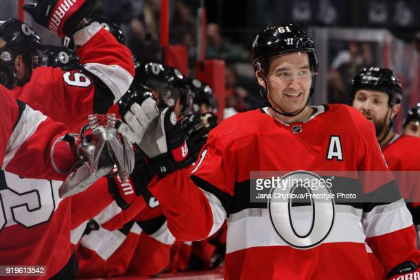 Mark Stone of the Ottawa Senators celebrates his first period goal against the New York Rangers with team mates at the bench at Canadian Tire Centre...