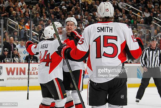 Mark Stone of the Ottawa Senators celebrates his goal with teammates during the first period against the Pittsburgh Penguins at Consol Energy Center...