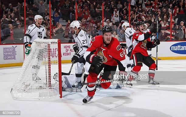 Mark Stone of the Ottawa Senators celebrates his last minute gamewinning third period goal against the Los Angeles Kings at Canadian Tire Centre on...