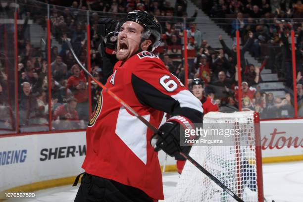 Mark Stone of the Ottawa Senators celebrates his late third period gametying goal against the Vancouver Canucks at Canadian Tire Centre on January 2...