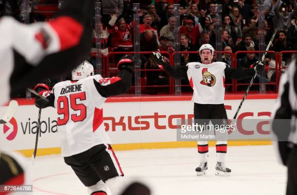 Mark Stone of the Ottawa Senators celebrates his overtime goal against the Colorado Avalanche at the Ericsson Globe on November 10 2017 in Stockholm...