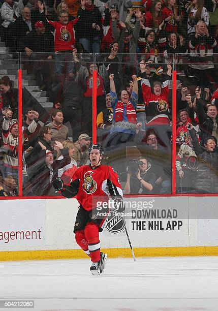 Mark Stone of the Ottawa Senators celebrates his overtime winning goal against the Boston Bruins at Canadian Tire Centre on January 9 2016 in Ottawa...