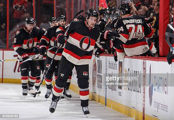 Mark Stone of the Ottawa Senators celebrates his second period goal against the Boston Bruins at Canadian Tire Centre on November 24 2016 in Ottawa...