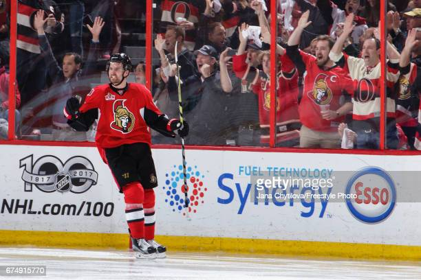 Mark Stone of the Ottawa Senators celebrates his third period goal against the New York Rangers in Game Two of the Eastern Conference Second Round...