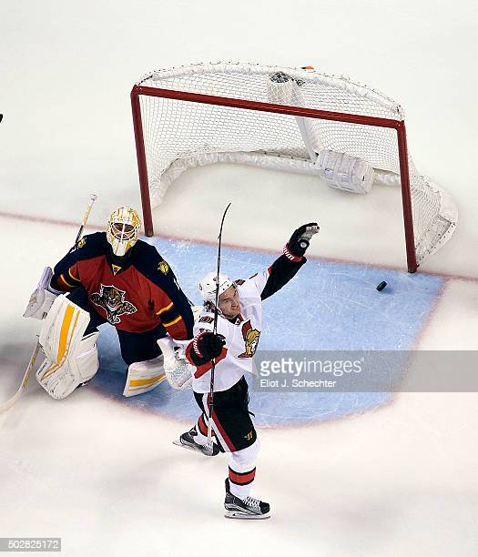 Mark Stone of the Ottawa Senators celebrates scoring a goal to tie the game against Goaltender Roberto Luongo of the Florida Panthers at the BBT...