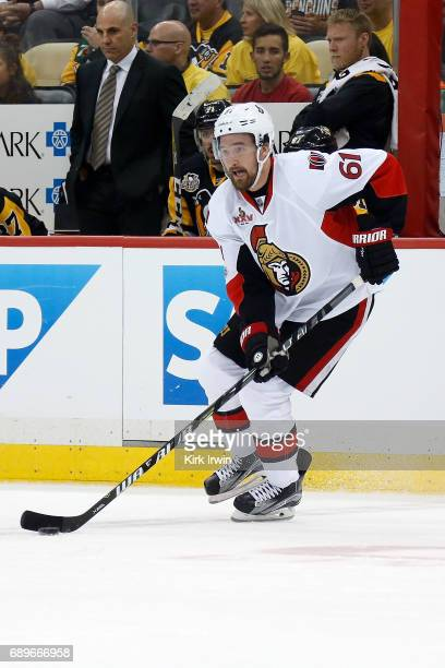 Mark Stone of the Ottawa Senators controls the puck in Game Seven of the Eastern Conference Final during the 2017 NHL Stanley Cup Playoffs against...