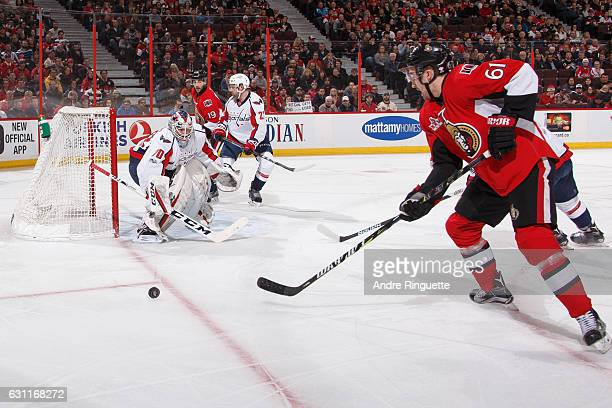 Mark Stone of the Ottawa Senators controls the puck on a scoring chance against Braden Holtby of the Washington Capitals at Canadian Tire Centre on...