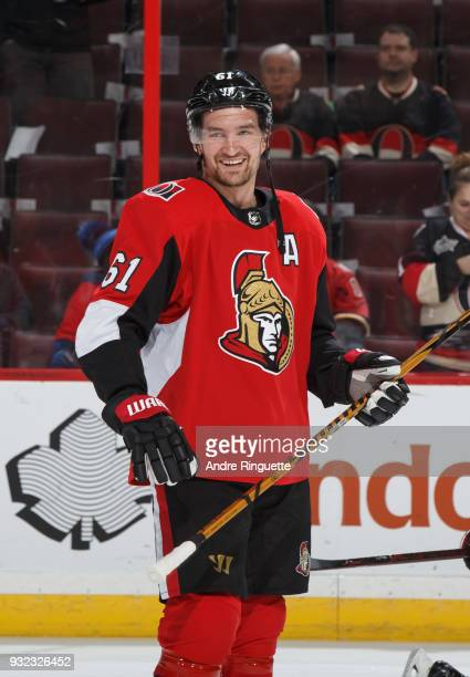 Mark Stone of the Ottawa Senators looks on during warmup prior to a game against the Calgary Flames at Canadian Tire Centre on March 9 2018 in Ottawa...