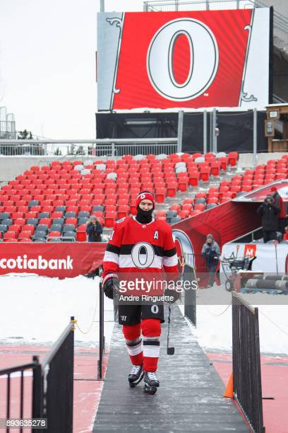 Mark Stone of the Ottawa Senators makes his way onto the ice during a practice session ahead of the Scotiabank NHL100 Classic at Lansdowne Park on...