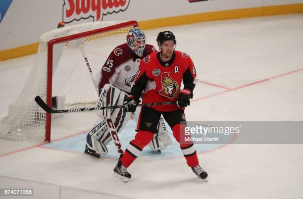 Mark Stone of the Ottawa Senators sets up in front of goaltender Jonathan Bernier the Colorado Avalanche at the Ericsson Globe on November 11 2017 in...