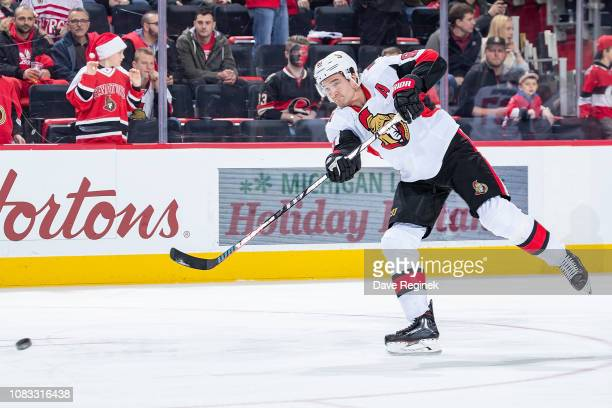 Mark Stone of the Ottawa Senators shoots the puck in warm ups prior to an NHL game against the Detroit Red Wings at Little Caesars Arena on December...