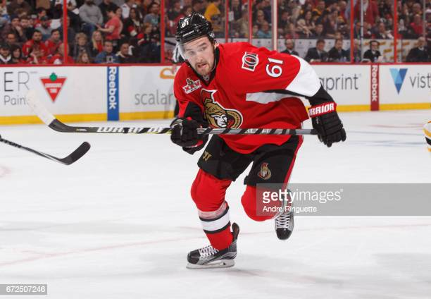 Mark Stone of the Ottawa Senators skates against the Boston Bruins in Game Five of the Eastern Conference First Round during the 2017 NHL Stanley Cup...