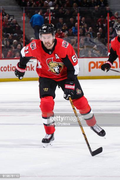 Mark Stone of the Ottawa Senators skates against the Buffalo Sabres at Canadian Tire Centre on February 15 2018 in Ottawa Ontario Canada