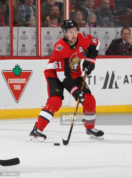 Mark Stone of the Ottawa Senators skates against the Buffalo Sabres at Canadian Tire Centre on March 8 2018 in Ottawa Ontario Canada
