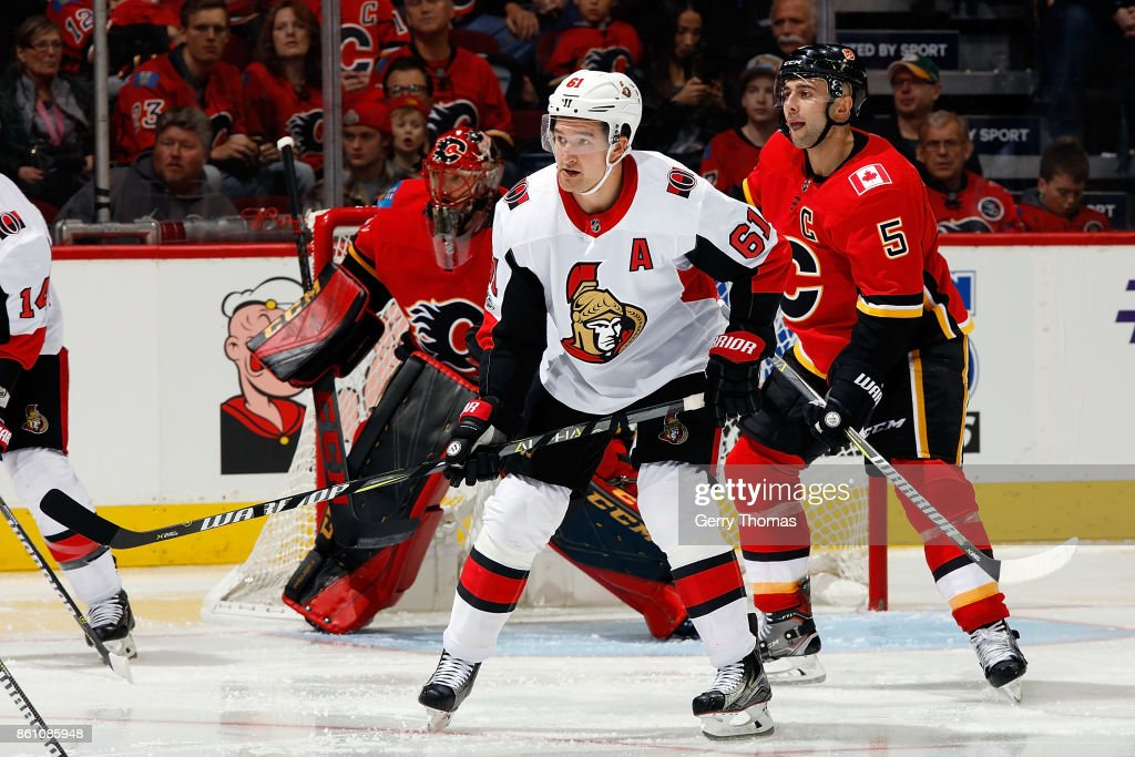 Mark Stone #61 of the Ottawa Senators skates against the Calgary Flames during an NHL game on October 13, 2017 at the Scotiabank Saddledome in Calgary, Alberta, Canada.