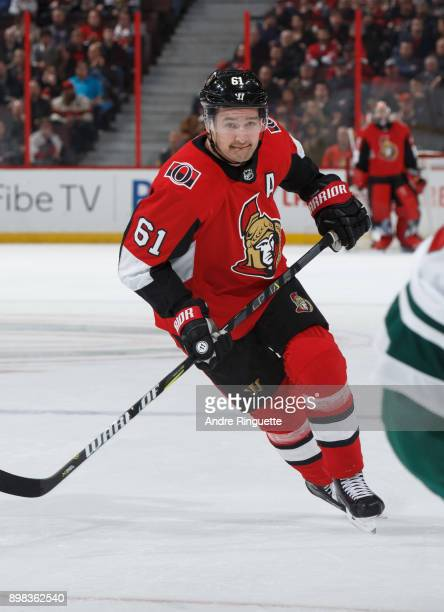 Mark Stone of the Ottawa Senators skates against the Minnesota Wild at Canadian Tire Centre on December 19 2017 in Ottawa Ontario Canada