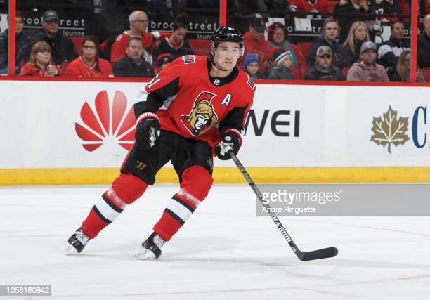 Mark Stone of the Ottawa Senators skates against the Montreal Canadiens at Canadian Tire Centre on October 20 2018 in Ottawa Ontario Canada