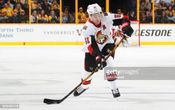 Mark Stone of the Ottawa Senators skates against the Nashville Predators during an NHL game at Bridgestone Arena on February 19 2018 in Nashville...