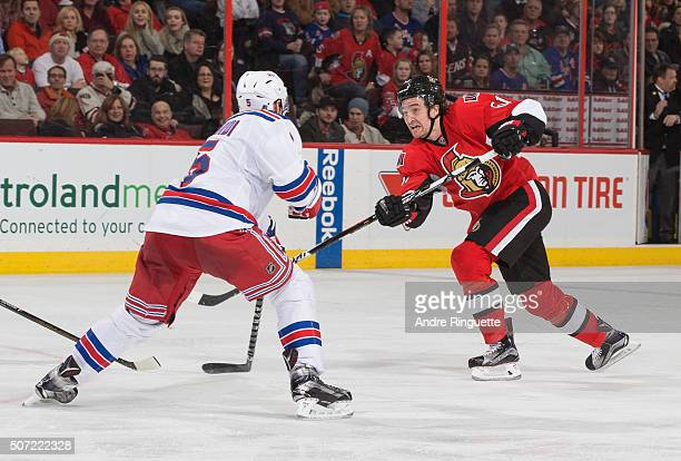 Mark Stone of the Ottawa Senators skates against the New York Rangers at Canadian Tire Centre on January 24 2016 in Ottawa Ontario Canada