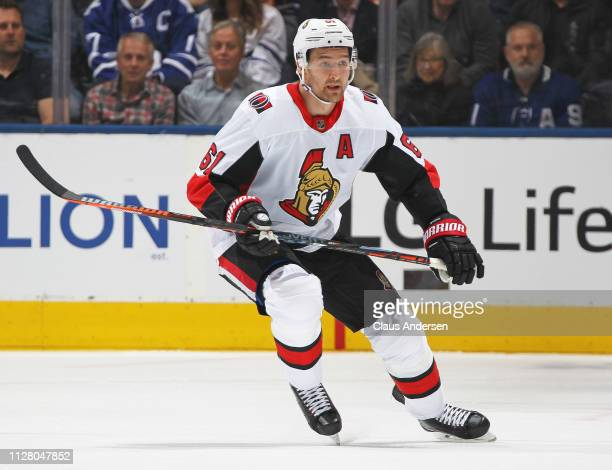 Mark Stone of the Ottawa Senators skates against the Toronto Maple Leafs during an NHL game at Scotiabank Arena on February 6 2019 in Toronto Ontario...