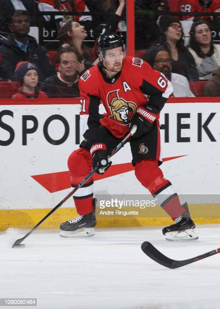 Mark Stone of the Ottawa Senators skates against the Vancouver Canucks at Canadian Tire Centre on January 2 2019 in Ottawa Ontario Canada