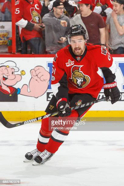 Mark Stone of the Ottawa Senators skates during warmup prior to Game Three of the Eastern Conference Final against the Pittsburgh Penguins during the...