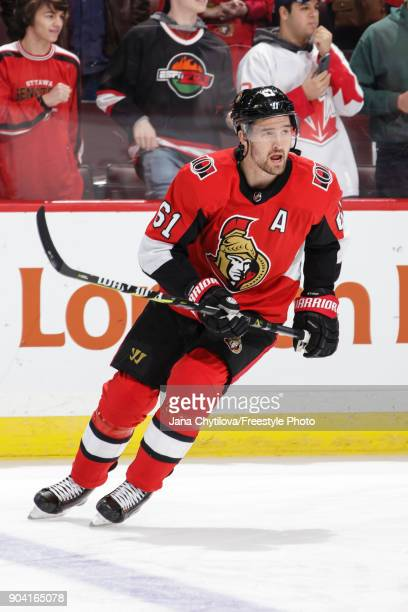 Mark Stone of the Ottawa Senators skates during warmups prior to a game against the Chicago Blackhawks at Canadian Tire Centre on January 9 2018 in...
