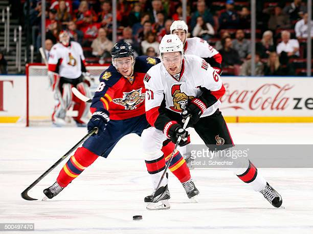 Mark Stone of the Ottawa Senators skates for possession during the second period against the Florida Panthers at the BBT Center on December 8 2015 in...