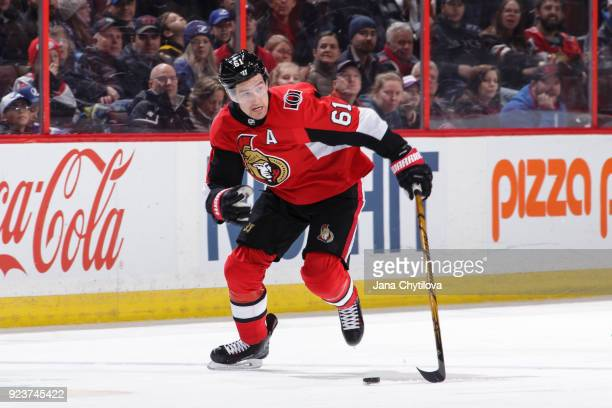 Mark Stone of the Ottawa Senators skates In his 300th career NHL game during warmups against the Tampa Bay Lightning at Canadian Tire Centre on...
