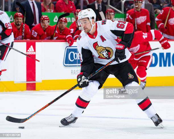 Mark Stone of the Ottawa Senators skates up ice with the puck against the Detroit Red Wings during an NHL game at Little Caesars Arena on February 14...