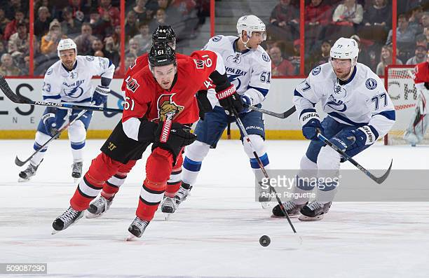 Mark Stone of the Ottawa Senators skates up ice with the puck against Victor Hedman of the Tampa Bay Lightning at Canadian Tire Centre on February 8...