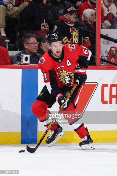 Mark Stone of the Ottawa Senators skates with the puck against the Buffalo Sabres at Canadian Tire Centre on February 15 2018 in Ottawa Ontario Canada
