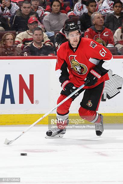 Mark Stone of the Ottawa Senators skates with the puck against the St Louis Blues during an NHL game at Canadian Tire Centre on March 1 2016 in...