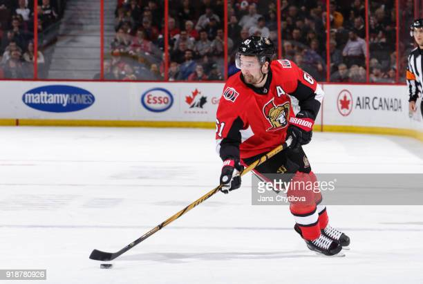 Mark Stone of the Ottawa Senators skates with the puck in a game against the Buffalo Sabres in the first period at Canadian Tire Centre on February...