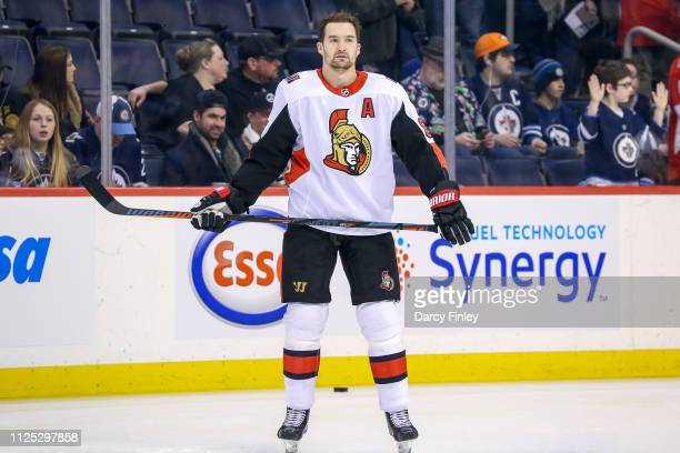Mark Stone of the Ottawa Senators takes part in the pregame warm up prior to NHL action against the Winnipeg Jets at the Bell MTS Place on February...