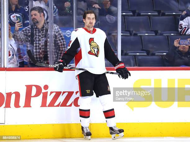 Mark Stone of the Ottawa Senators takes part in the pregame warm up prior to NHL action against the Winnipeg Jets at the Bell MTS Place on December 3...