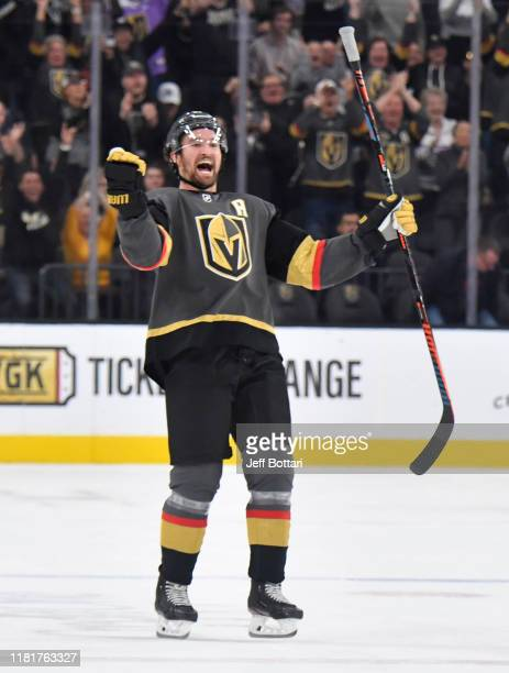 Mark Stone of the Vegas Golden Knights celebrates after defeating the Ottawa Senators in a shootout at TMobile Arena on October 17 2019 in Las Vegas...