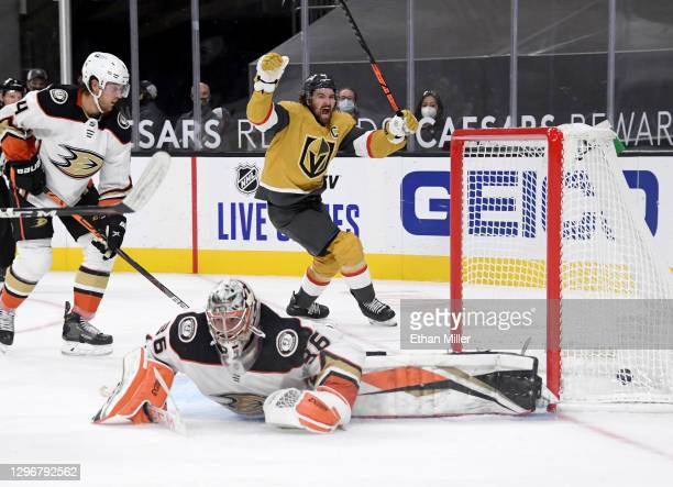 Mark Stone of the Vegas Golden Knights celebrates after he passed to Max Pacioretty who beat John Gibson of the Anaheim Ducks with a shot in overtime...