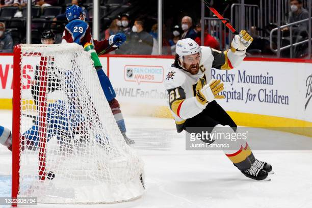 Mark Stone of the Vegas Golden Knights celebrates after scoring against the Colorado Avalanche during overtime in Game Five of the Second Round of...