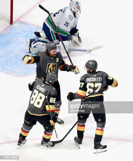 Mark Stone of the Vegas Golden Knights celebrates his second period deflection goal against Jacob Markstrom of the Vancouver Canucks at 11:35 of the...