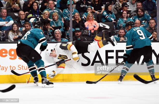 Mark Stone of the Vegas Golden Knights goes airborne battling for the puck during the second period against the San Jose Sharks in Game One of the...