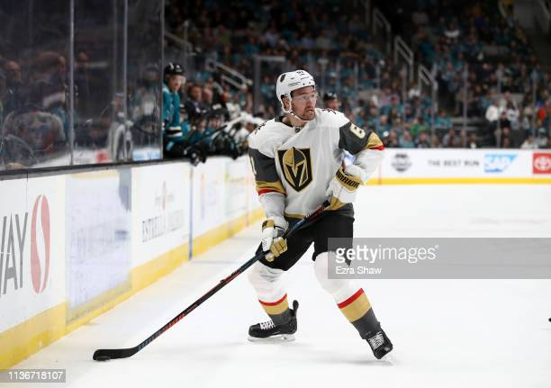 Mark Stone of the Vegas Golden Knights in action against the San Jose Sharks at SAP Center on March 18 2019 in San Jose California