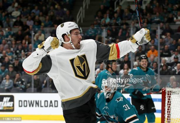 Mark Stone of the Vegas Golden Knights reacts after he scored a goal on Martin Jones of the San Jose Sharks at SAP Center on March 18 2019 in San...