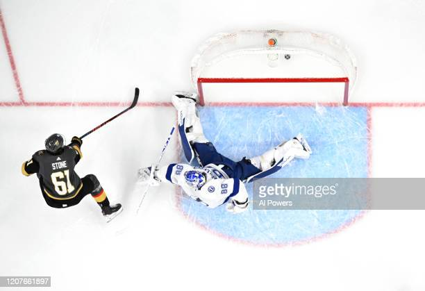 Mark Stone of the Vegas Golden Knights scores a goal during the second period against the Tampa Bay Lightning at T-Mobile Arena on February 20, 2020...