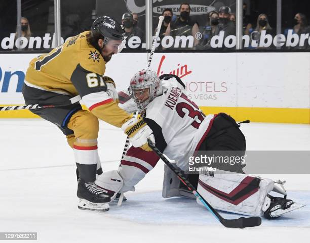 Mark Stone of the Vegas Golden Knights scores a second-period goal against Darcy Kuemper of the Arizona Coyotes during their game at T-Mobile Arena...
