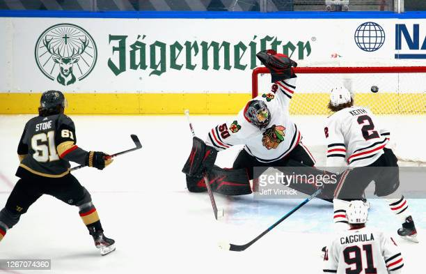Mark Stone of the Vegas Golden Knights scores at 57 seconds of the second period against Corey Crawford of the Chicago Blackhawks in Game Five of the...