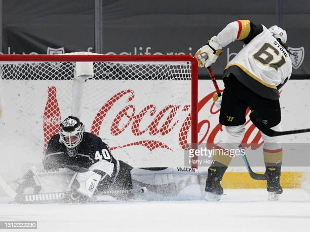 Mark Stone of the Vegas Golden Knights scores on Calvin Petersen of the Los Angeles Kings, to tie the game 2-2, during the second period at Staples...