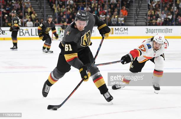 Mark Stone of the Vegas Golden Knights shoots the puck during the third period against the Calgary Flames at TMobile Arena on March 6 2019 in Las...