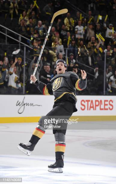 Mark Stone of the Vegas Golden Knights skates on the ice after being named the first star of the game following the team's 63 victory over the San...